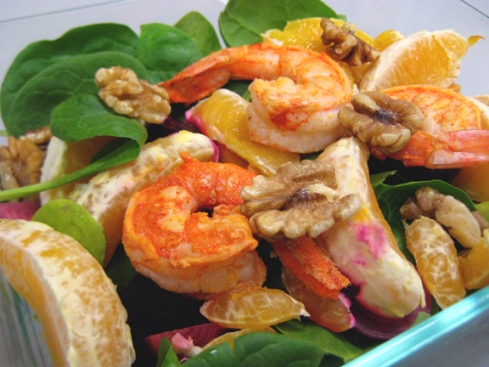 Shrimp, navel orange and quinoa salad